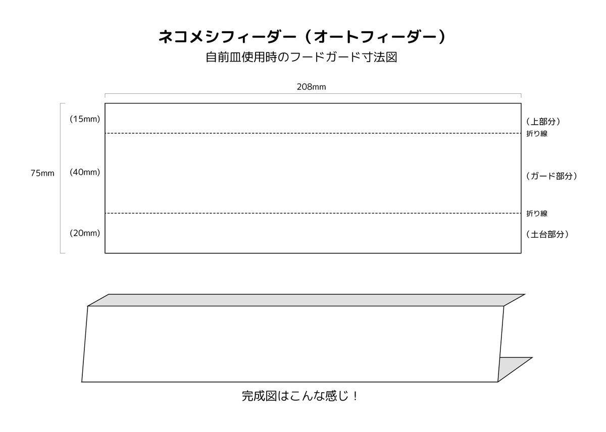 ネコメシフィーダー用フードガード寸法図